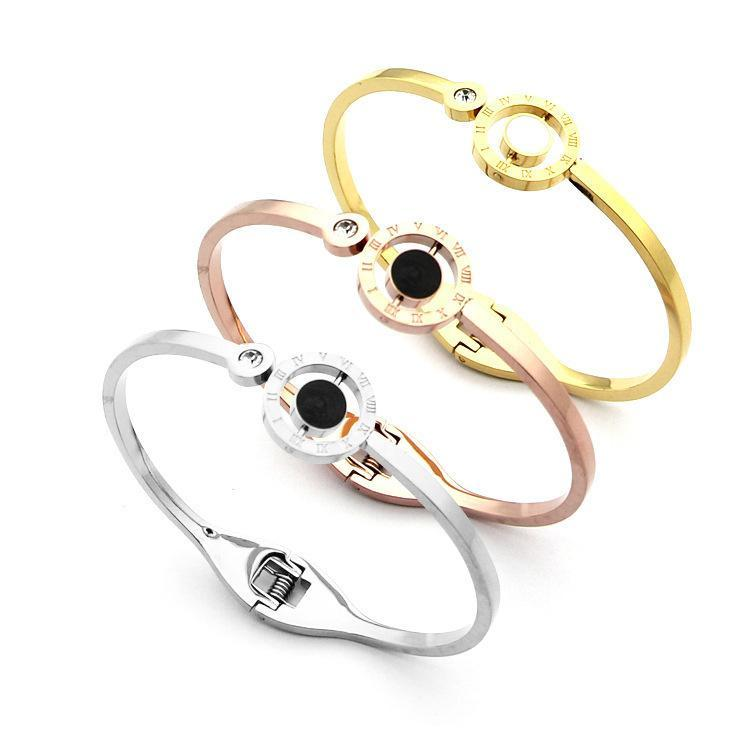 Banglests For Women Jewelry Titanium Steel Roman Numerals Rotatable Black And White Resin Crystal Couple Bracelets Rose Gold Bangle