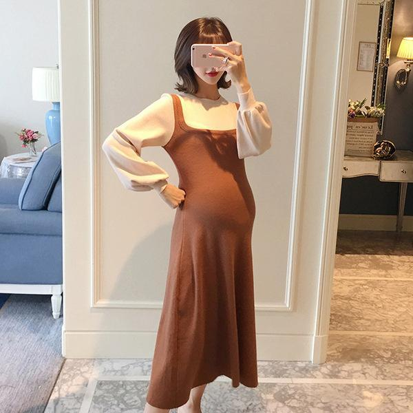 Maternity Dresses 2021 Autumn Dress Round Neck, Long Sleeves, Loose And Large Size Knitted Pregnancy Clothes