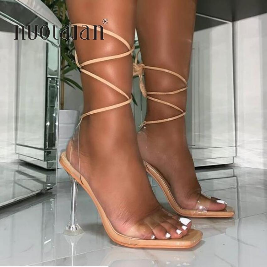Summer PVC TRANSPARENT CROISSION CROISSION CROISSION HAUTE TRAITES SANQUES FEMMES Sandales PeeeP Toe Sexy Party Femme Chaussures Femme Sandalias