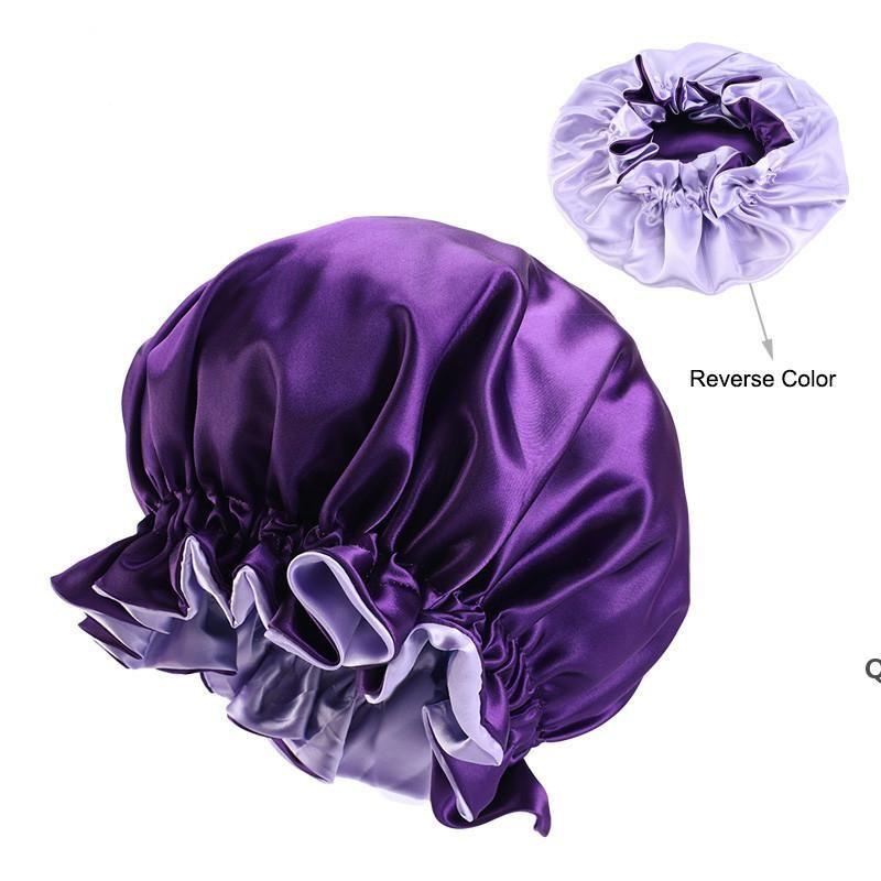 Женщины кружевные спящие шляпы двойной боковой износа крышка кружевная купольная ночная копия Пермская шапка мода круглые колпачки для волос аксессуары DHC7307