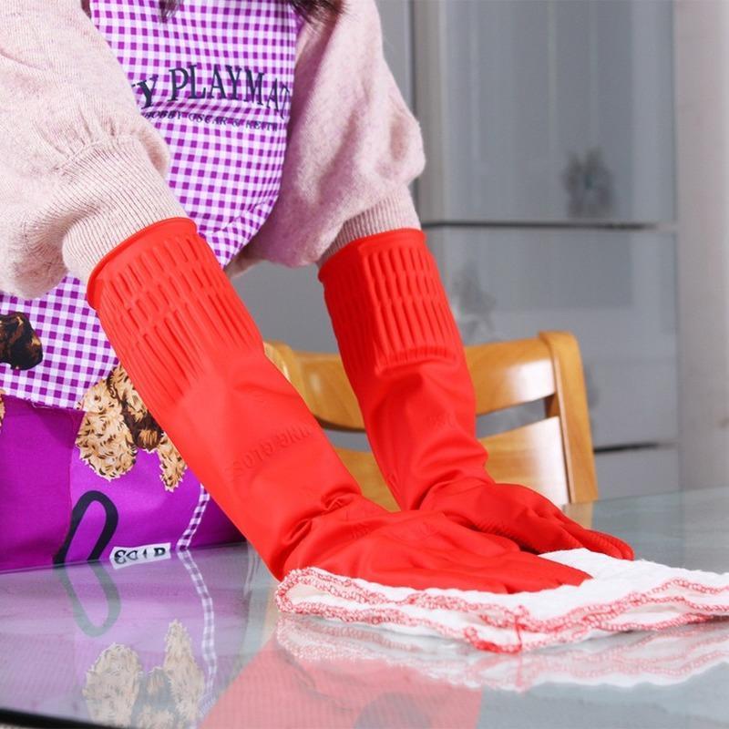 Gants jetables 1 paire allongée latex épaissie enduit de la vaisselle en caoutchouc étanche non-glissement de ménage usage de la blanchisserie nettoyage