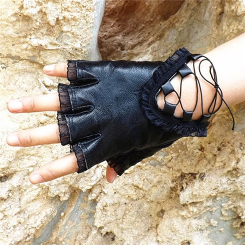 Five Fingers Gloves Women 2021 Casual Dance Show Driving Fashion Ladies Mittens Black Lace Leather Half Finger
