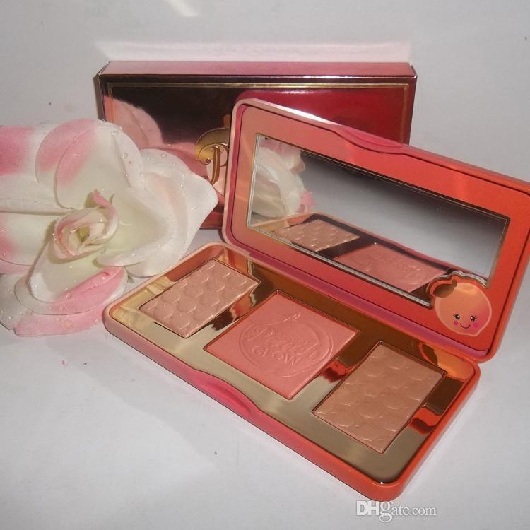 Auf Lager Pfirsichglühen infundierte Lidschatten-Bronzer-Highlights-Make-up-Blush-Palette
