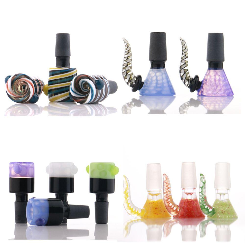 Tigela de vidro masculino 14mm duplas camadas coloridas 18mm bong tigelas de cachimbos cone acessório tubos de fumar liberar tubulação de água de fumo