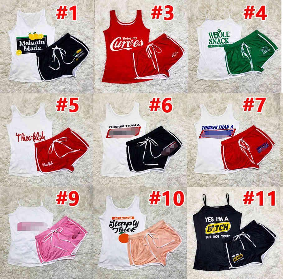 Женщины Scortsuits Летние Две кусочки Шорты Брюки набор Письмо Печатная Подвеска Yoga Outfits Спортивная одежда