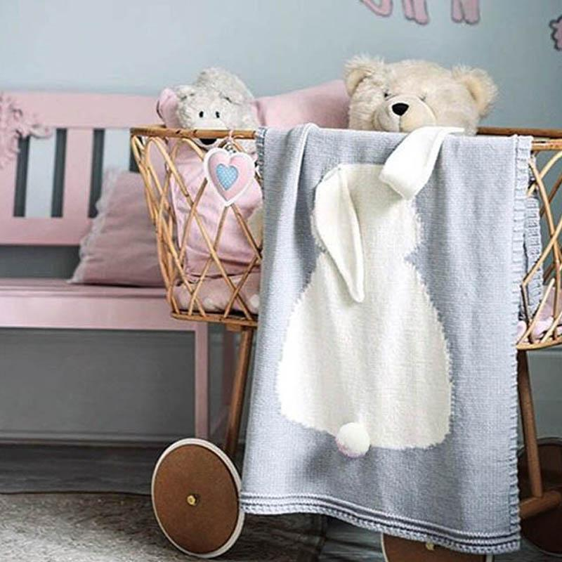 Kids Boy Girl Blankets Newborn Baby Knitted Quilt Air Conditioning Blankets Easter Rabbit Ears Solid Travel Quilt Blanket DDA6345