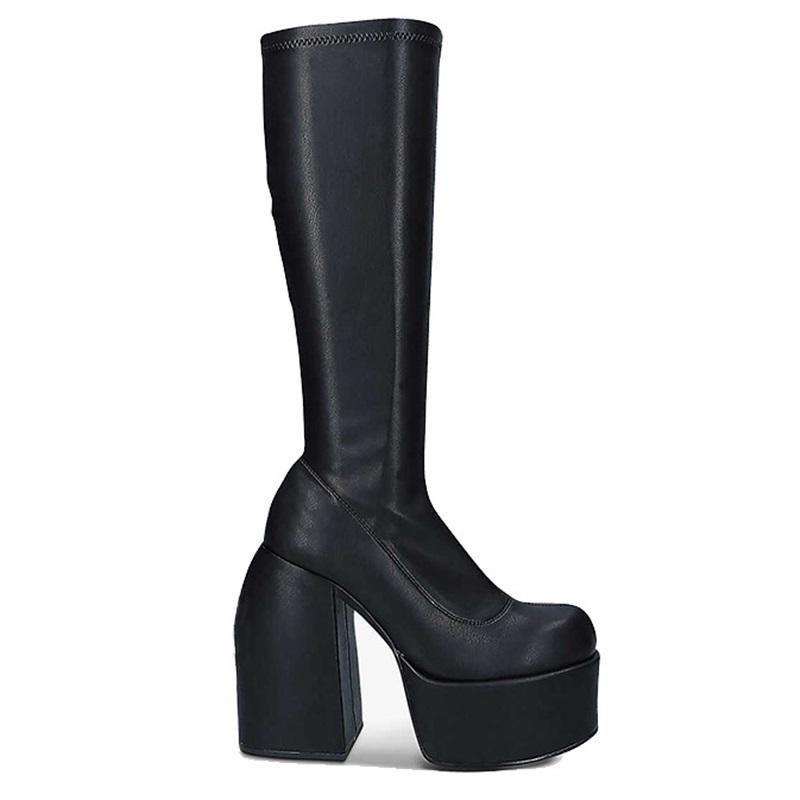 Boots Punk Style Autumn Winter Elastic Microfiber Shoes Woman Ankle High Heels Black Thick Platform Long Knee
