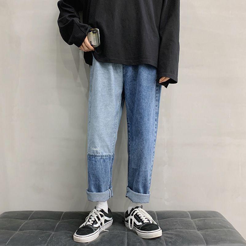 Couleur Correspondant à Jeans Mode Marque Lâche et polyvalente Straight Street Coréen à large pied