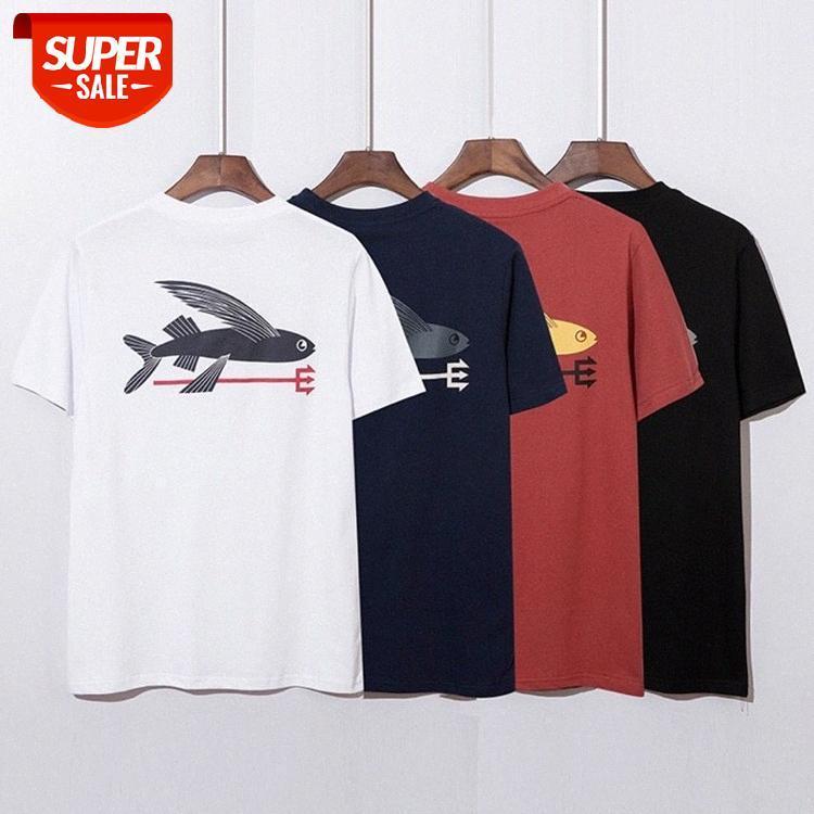 Patagonia Shark Print Hip-Hop Männer und Frauen Derselbe lässig Rundhals-Kurzarm-T-Shirt # 3S4W