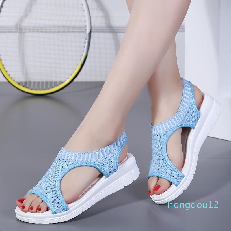 Plus Size 35-44 Scarpe femminili Donna Estate Cuneo Confortevole Signore Sangue Slip-on Sandali piatti Donne Sandalias Y200323