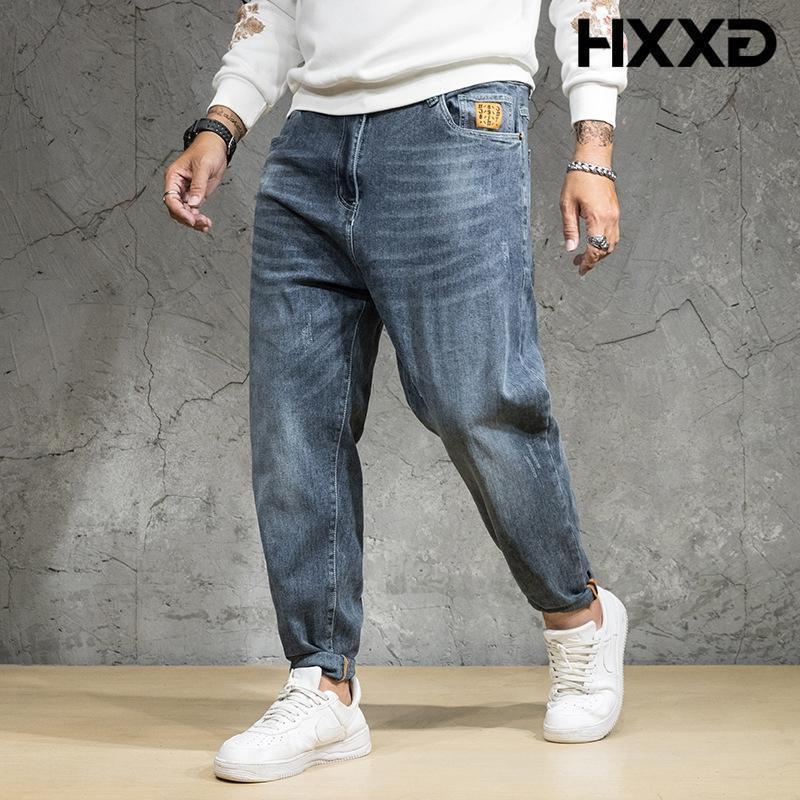 청바지 망 2021 플러스 사이즈 GXXH 브랜드 고품질 데님 바지 남성 패션 블루 헐렁한 느슨한 남자 청바지 대형 42 44 46