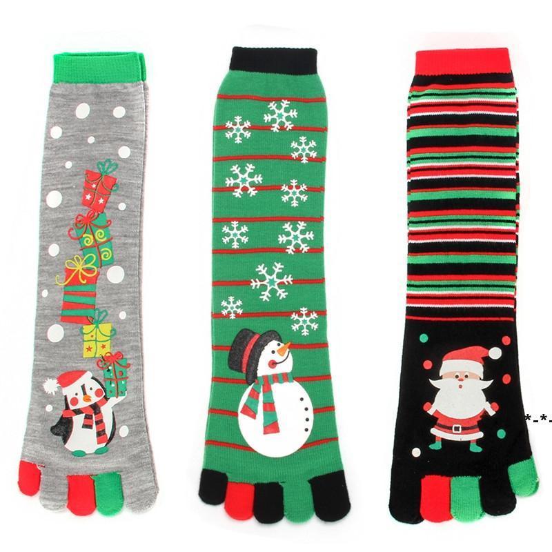 Рождественские носки с пальцами хлопчатобумажной экипажа Xmas пять пальцев кровать носки унисекс свободный размер HHF8750