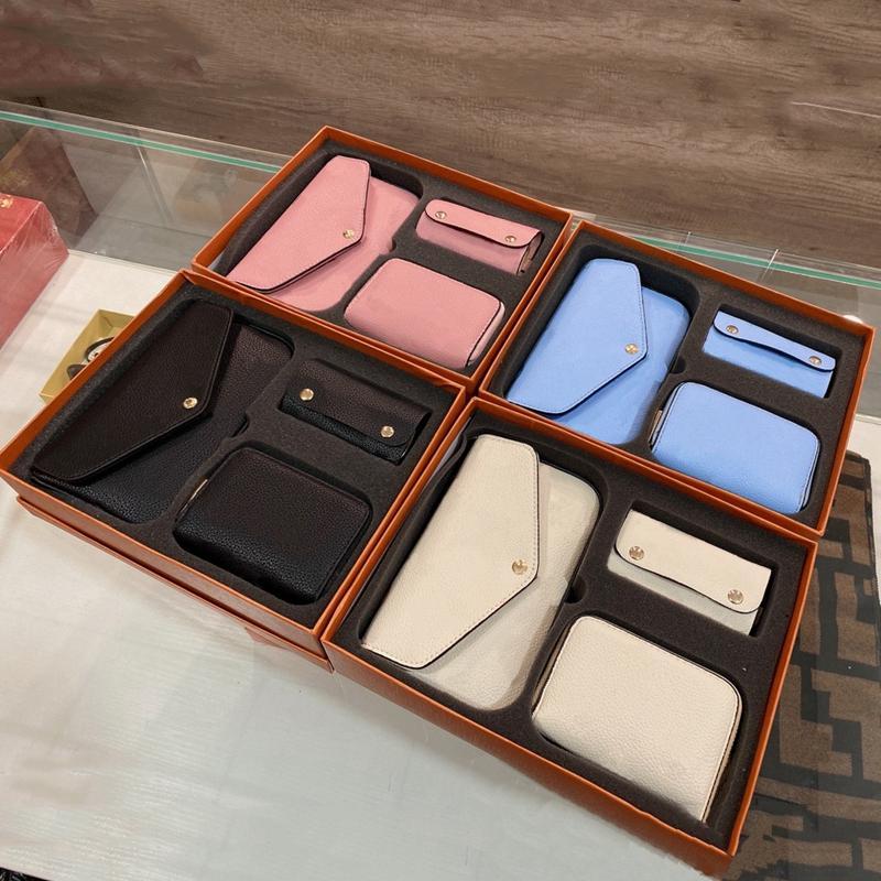 2021 مصمم فاخر ثلاثة قطعة واحدة الكتف حقيبة المرأة الأزياء جودة عالية أكياس بطاقة حلقة رئيسية مع صندوق