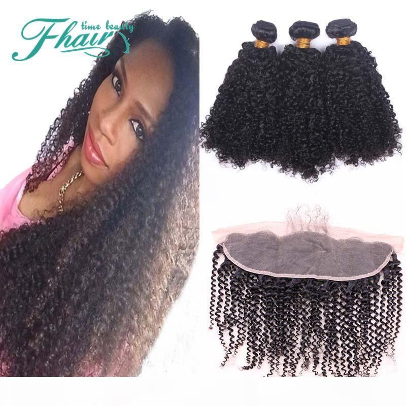 Premium agora Afro Kinky Curly 8A Peruano Cabelo Humano Weave Bundles com Lace Frontal Fechamento 13x4 Cheap sensacional 4 pcs lote