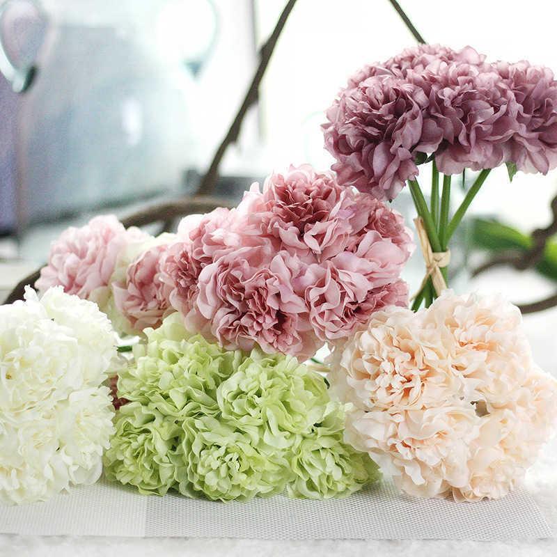 5 Kafa / Buket Peonies Yapay Çiçek Sahte Ortanca Yıl için Yapay Çiçekler Düğün Ev Dekorasyon Garland T191029
