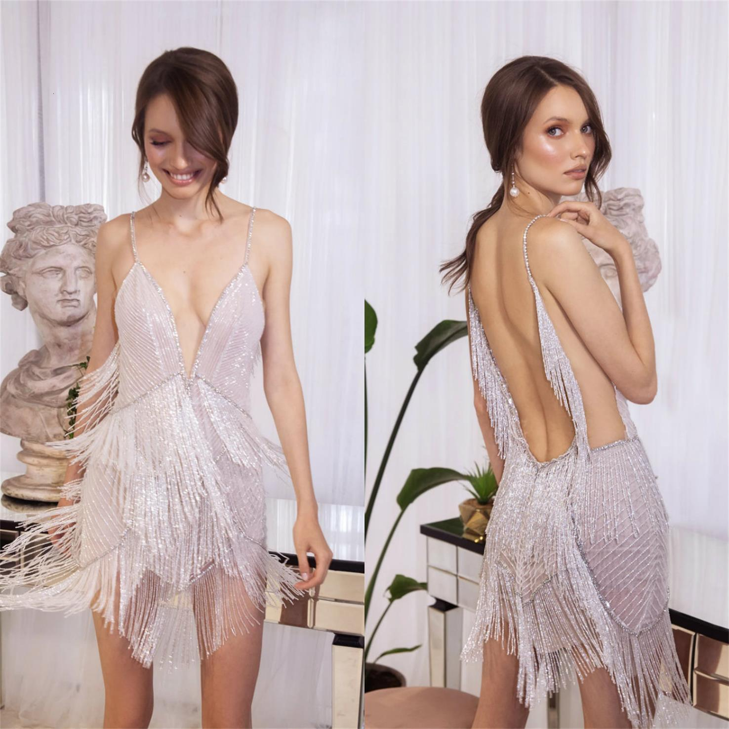 Sexy kurze Abendkleider Sonderanfertigungen Pailletten Quaste Prom Kleid Spathetti V-ausschnitt formale Partykleider