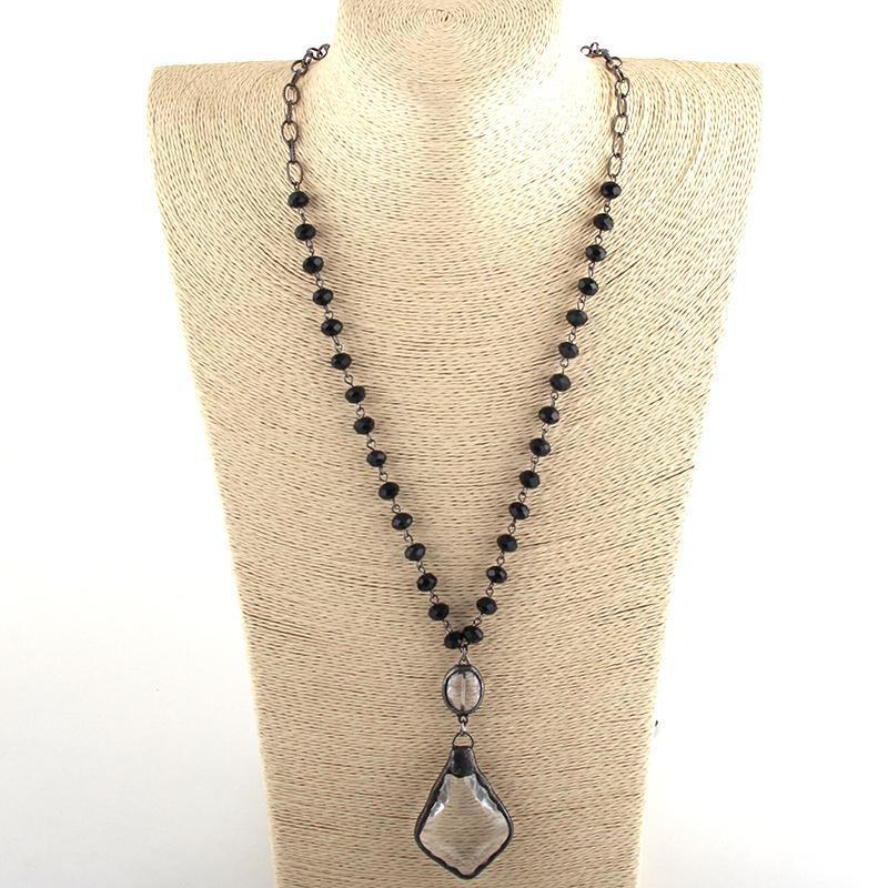 Collares colgantes moda joyería bohemia negro pistola chapado en cadena de cristal rosario cruz