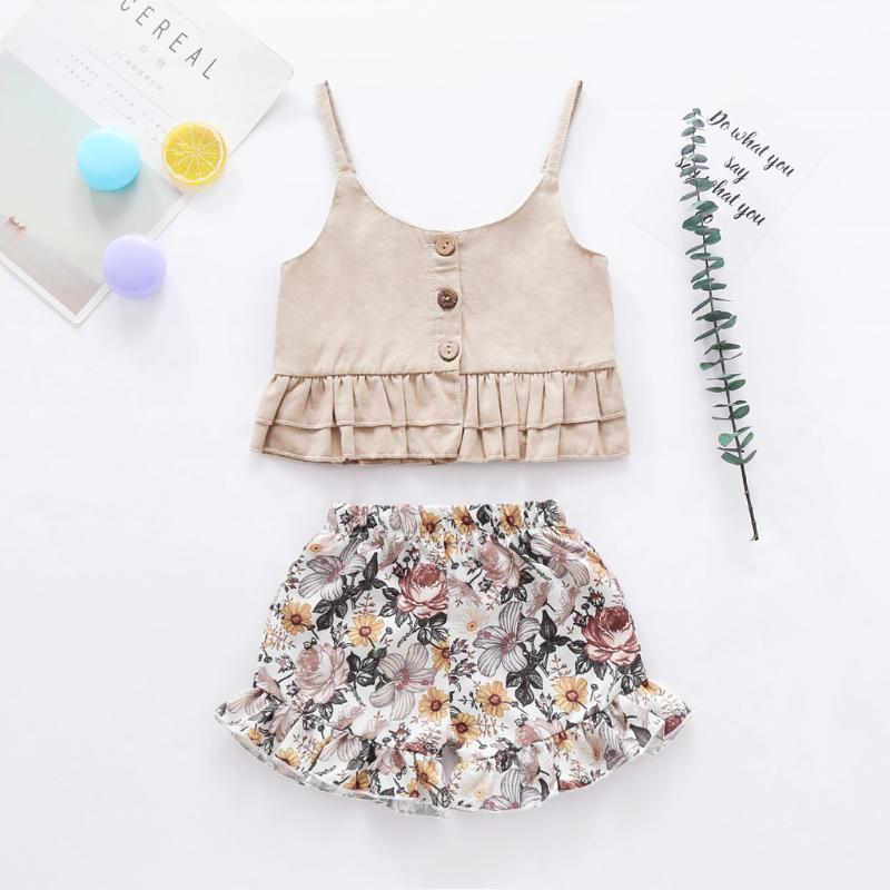 Summer Toddler Girls Ropa Set Kids Baby Baby Button Button Chaleco Tops + Print FLORAL Shorts Outfits Childs Casual Ropa Conjuntos