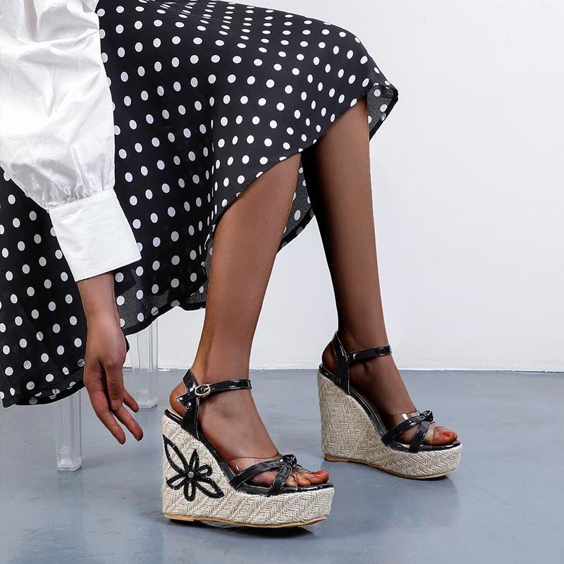 Yaz çiçek-dekore edilmiş takozlar bayanlar sandalet toe ayakkabı platformu süper yüksek topuklu büyük boy 35-48 elbise