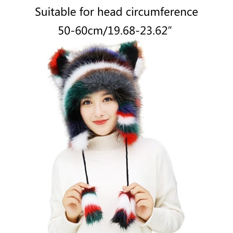 Frauen winter flaumig pelziger Trapper Hut niedlichen Katzenohren Fuzzy Plüsch Tier Earflapkappe winddichte thermische Ohrenschützer wärmer