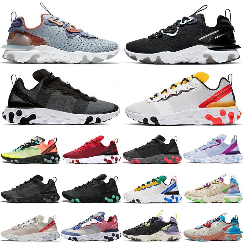 2020 nik react vizyon erkek eğitmenler element tepki verir 55 87 koşu ayakkabıları üçlü beyaz Şematik Antrasit Yelken bayan açık spor ayakkabı