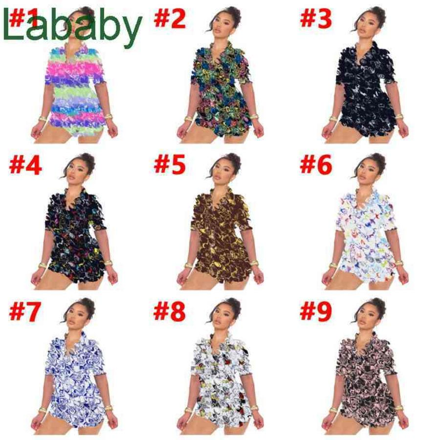 Women Tracksuits Two Pieces Set Designer Slim Sexy Casual Letters Pattern Printed Short Sleeve Pajamas Home Wear Sportwear 9 Colours
