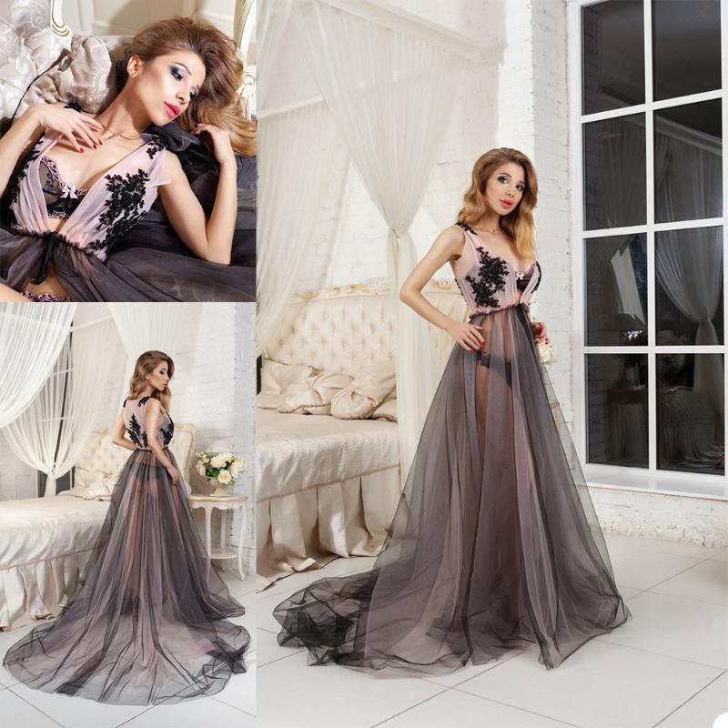 Wraps & Jackets Deep V Neck Sexy Night Robe See Through Beaded Sleepwear Party Dress Sweep Train Nightgowns Robes