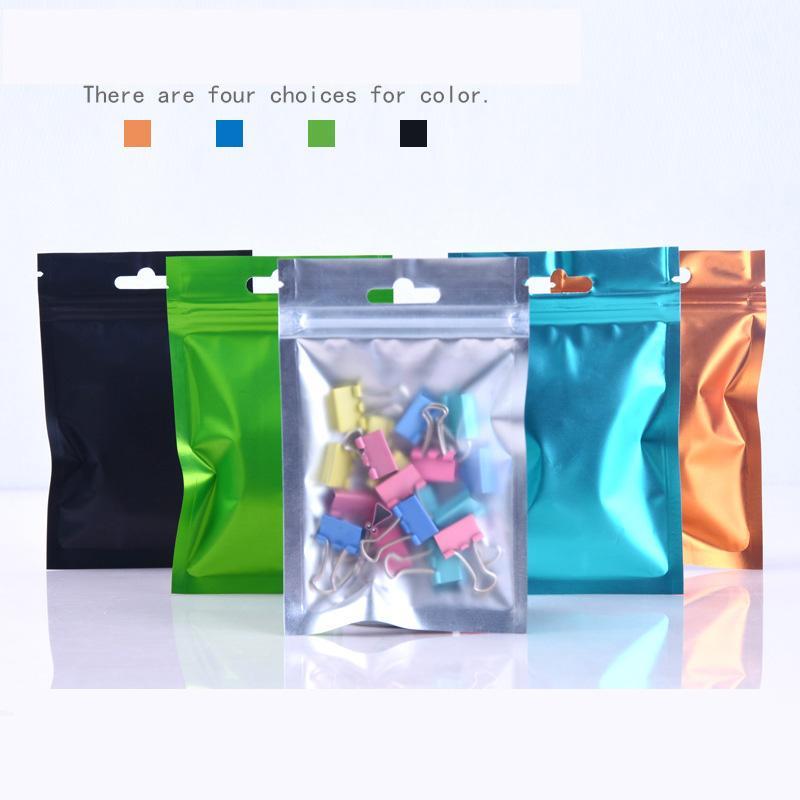 Bir Yan Temizle Renkli Açılabilir Fermuar Mylar Çanta 8.5 * 13 cm 9 * 15 cm 10 * 18 cm Alüminyum Folyo Koku Geçirmez Torbalar Takı Çanta