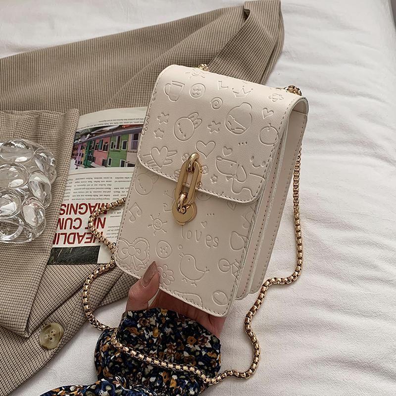 틈새 디자인 가방 여성 패션 하이 엔드 체인 감각 체인 광장 메신저 전화 어깨 폭 : 11.5cm 가방