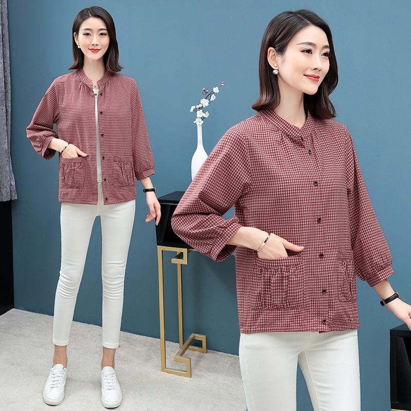 O cânhamo cor-de-rosa parte superior ocasional 2021 Cardigan em pé do cardigan gola a manta de algodão solta manga longa t-shirt