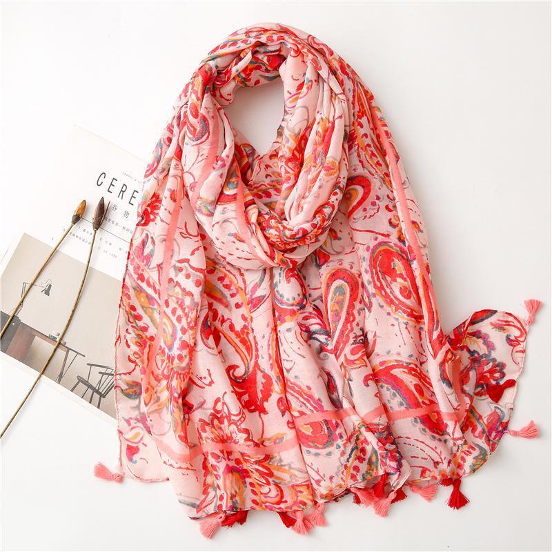 Women Fashion Cashew Floral Tassel Viscose Shawl Scarf Lady High Quality Wrap Stole Bufandas Muslim Hijab 180*90Cm Scarves