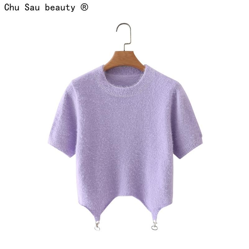 Manga corta para mujer O-cuello delgado cultivo punto corto top corto fresco alta cintura femenina moda sólido color chic 210514