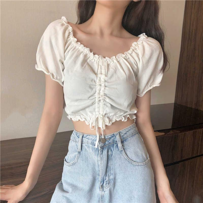 Sommer Neue Kurzarm V-Ausschnitt T-Shirt Frauen Solide Farbe Wild Alle Spiele Falten Tshirt Weibliche Slim Tops Hot Ins Mode T-Stück Y0601