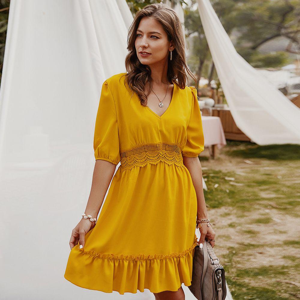 여성 V 넥 드레스 레이스 패치 워크 드레스 짧은 소매 캐주얼 느슨한 프릴 Maxi Sundress A-Lined High 허리 휴가 쉬폰 파티 옷 여성용 벨트