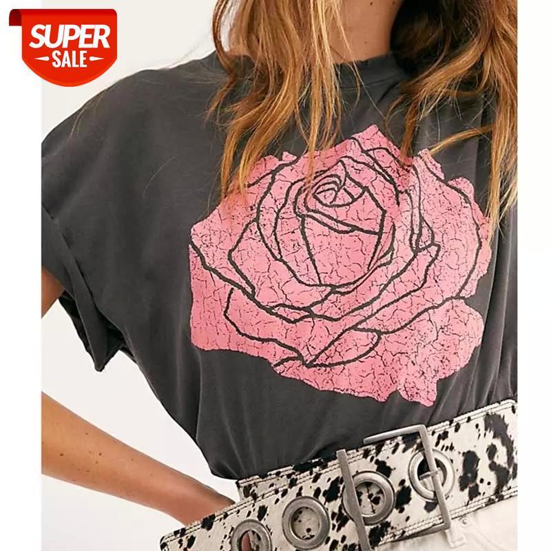 Vintage Black Tee Boyfriend estilo apto afligido rosa gráfico t camisas para mulheres manga curta boho tops de verão
