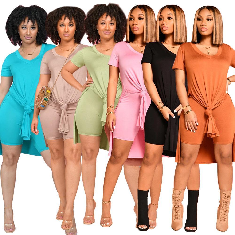 Women's Two Piece Pants Tracksuits Suit 2 piecess Short Sleeve Scoop Neck tshirt Top + shorts Casual Solid split Suits plus size S/M/L/XL/2XL/3XL