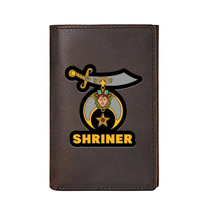 Carteiras de alta qualidade homens carteira de couro genuíno freemason shriner cartão de impressão macho magro mini bolsa curta