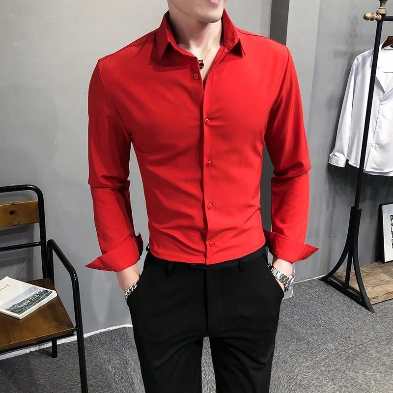 Camisa de manga larga para hombre de color sólido M-5XL Slim British Shirts Hombres Vestido de negocios Casual Casual Rojo Verde Ropa Coreana Hombres