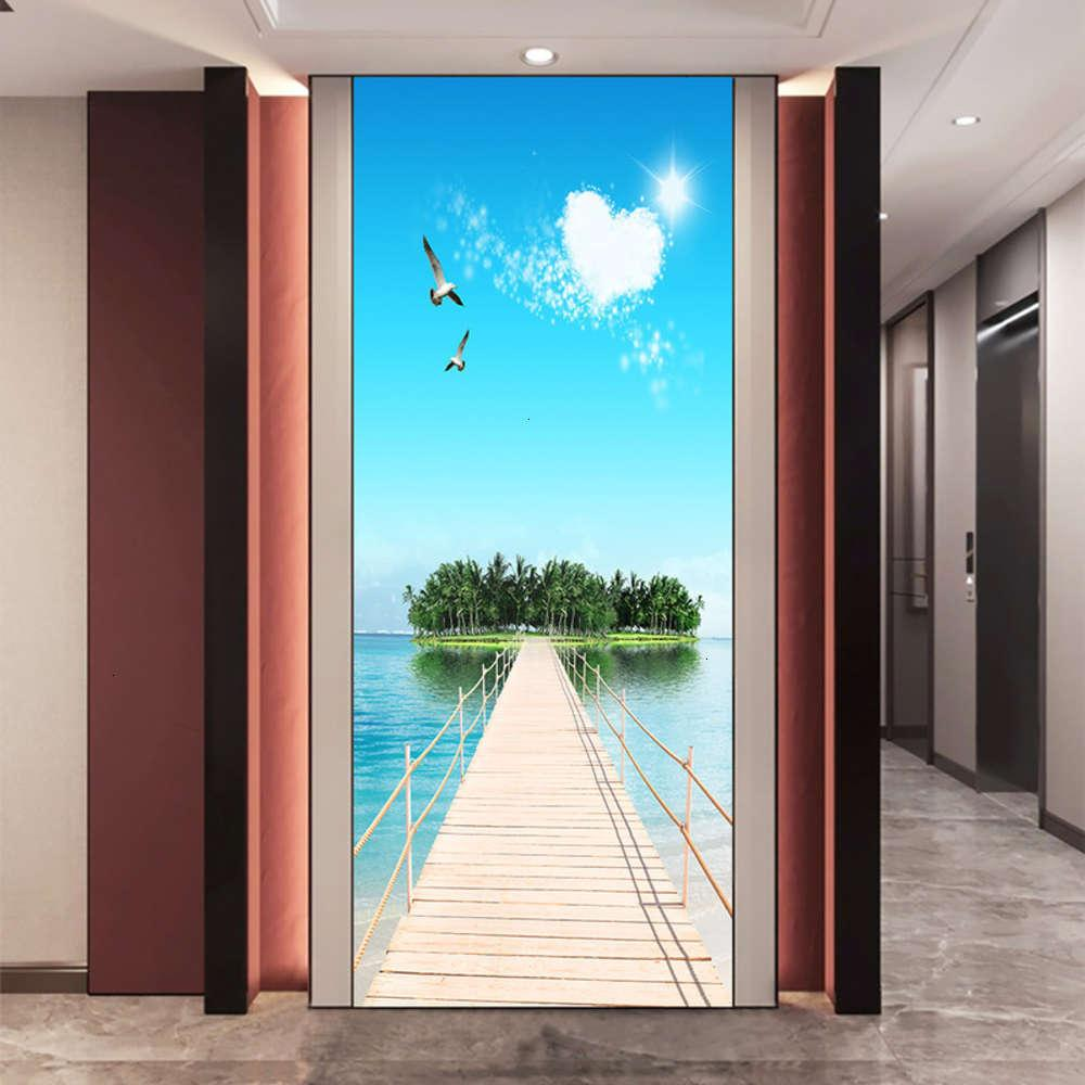 Adesivos decorativos Banheiro com bedroom Ilha Paisagem Porta do mar auto adhive removível PVC Decoração de casa