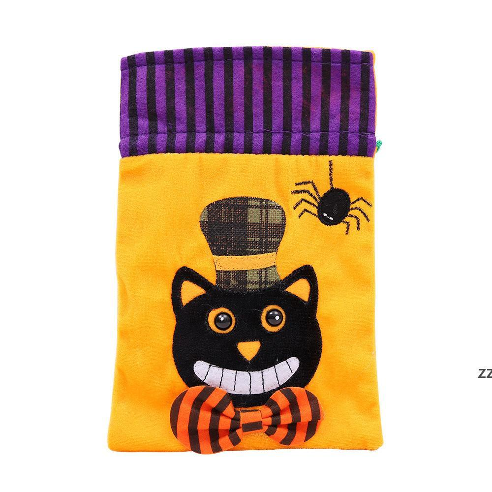 Party Supplies Halloween Decoration Drawstring Trick or Treat Candy Bags for Kids Witch Skull Pumpkin Cat Snack Pouch HWE9615