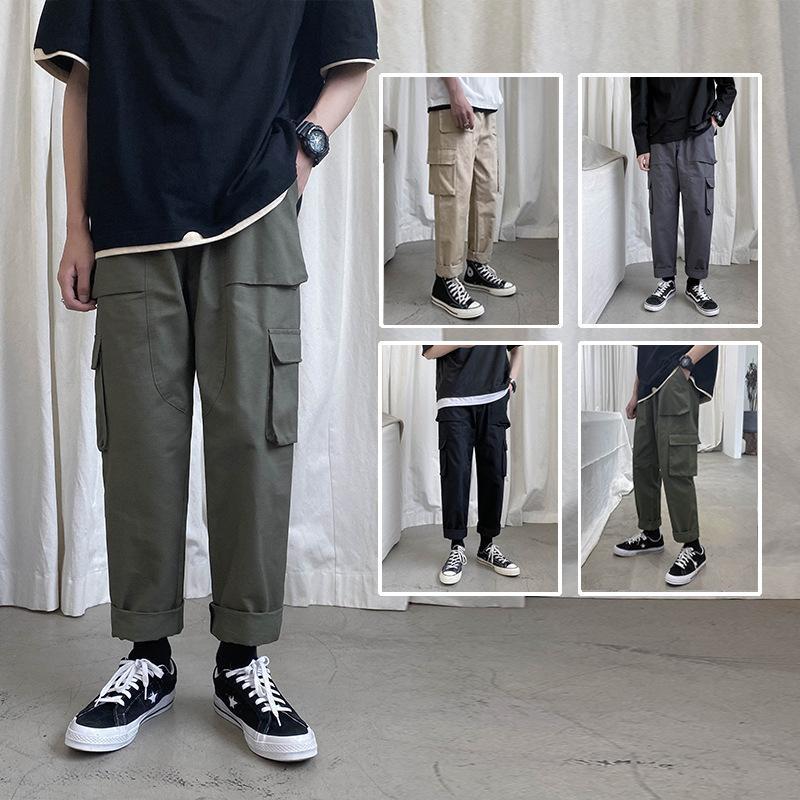 Perth Straight Casual Hombres Capris sueltos Verano Nuevo Jóvenes Pantalones Sólidos Multi Bolster