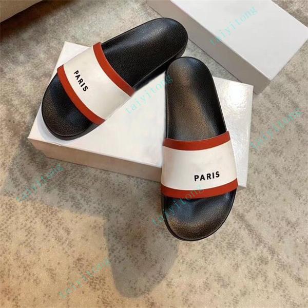 Yüksek kaliteli Bayan Moda Spor Kauçuk Slayt Sandalet Erkekler Flats Terlik Kapalı Ayakkabı Boyutu EUR 36-45 Kutusu Ile