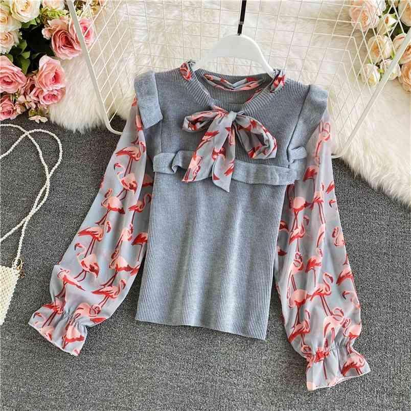 Autunno inverno girocollo girocollo bowknot moda chiffon cucitura maglia maglione maglione a maniche a soffio top donne uk838 210506