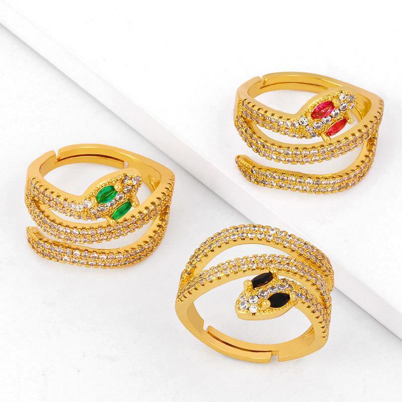 Venda por atacado china fabricante de ouro banhado a ouro delicado colorido zircon cobra dgon anéis para mulheres