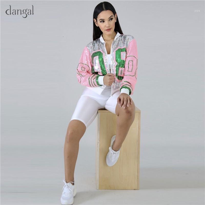 Dangal Paillettenjacke Frauen Pailletten Mantel Rosa Glänzende Jacke Kleidungskörper Ösen Weibliche Kühle lose O-Neck-Reißverschluss heraus tragen