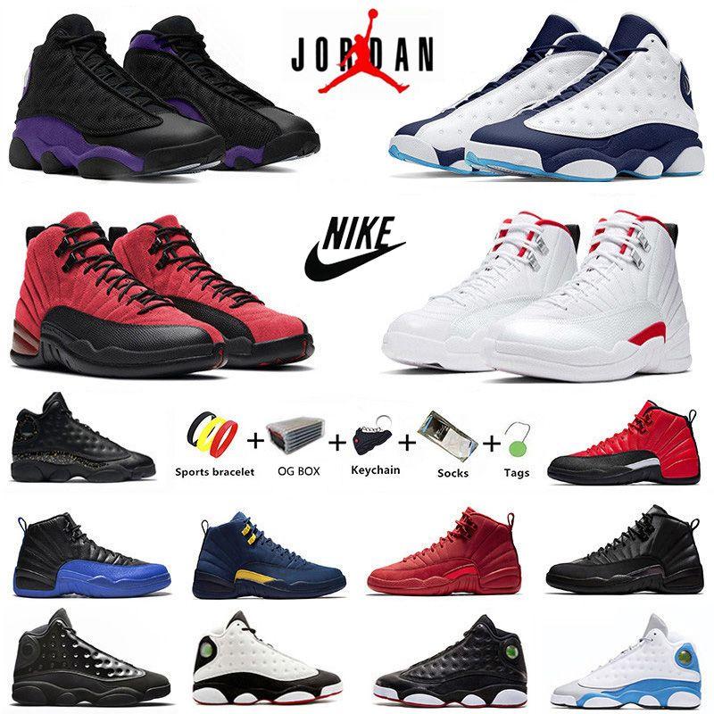 Dark Powder Blue Twist jumpman 12s 13s scarpe da basket da uomo 12 Utility gioco di influenza inversa palestra Red flint 13 scarpe da ginnastica da uomo allevate sneakers sportive