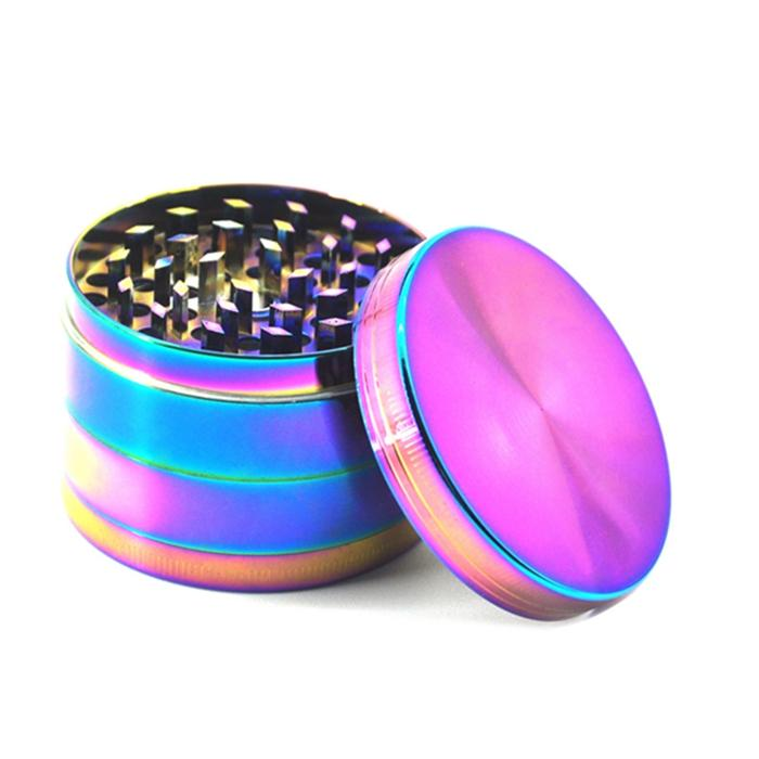 레인보우 담배 분쇄기 허브 그라인더 4 조각 50mm 흡연 세트 알루미늄 합금 꽃가루 프레스 포수 금속 그라인더 ZWL304