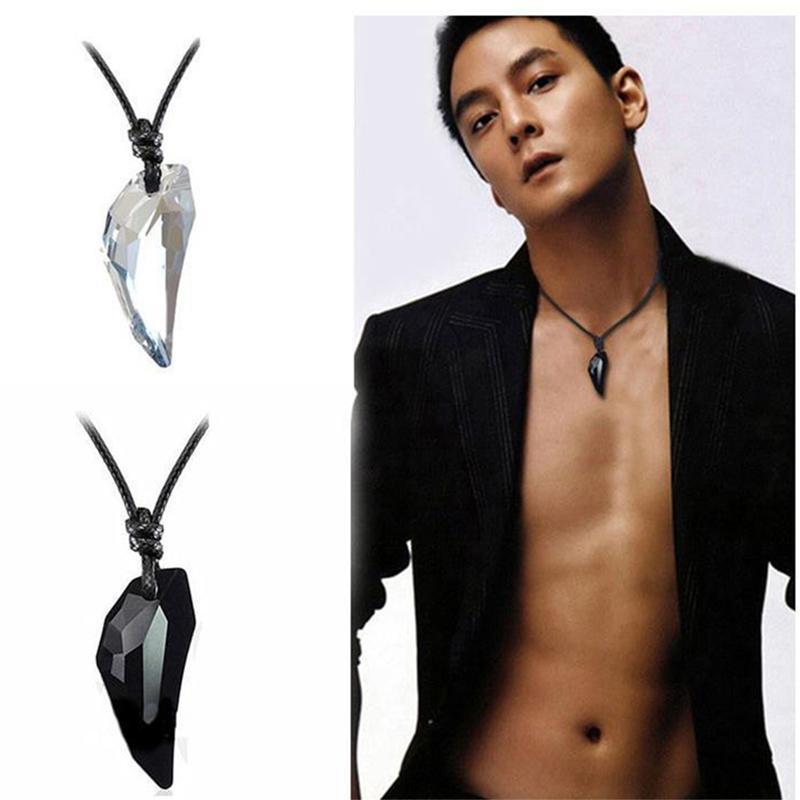 Yutong Octbyna Moda Spike Kurt Diş Kristal Kolye Deri Halat Kolye Erkekler Için Serin Vintage Kolye Unisex Kadınlar Takı Için