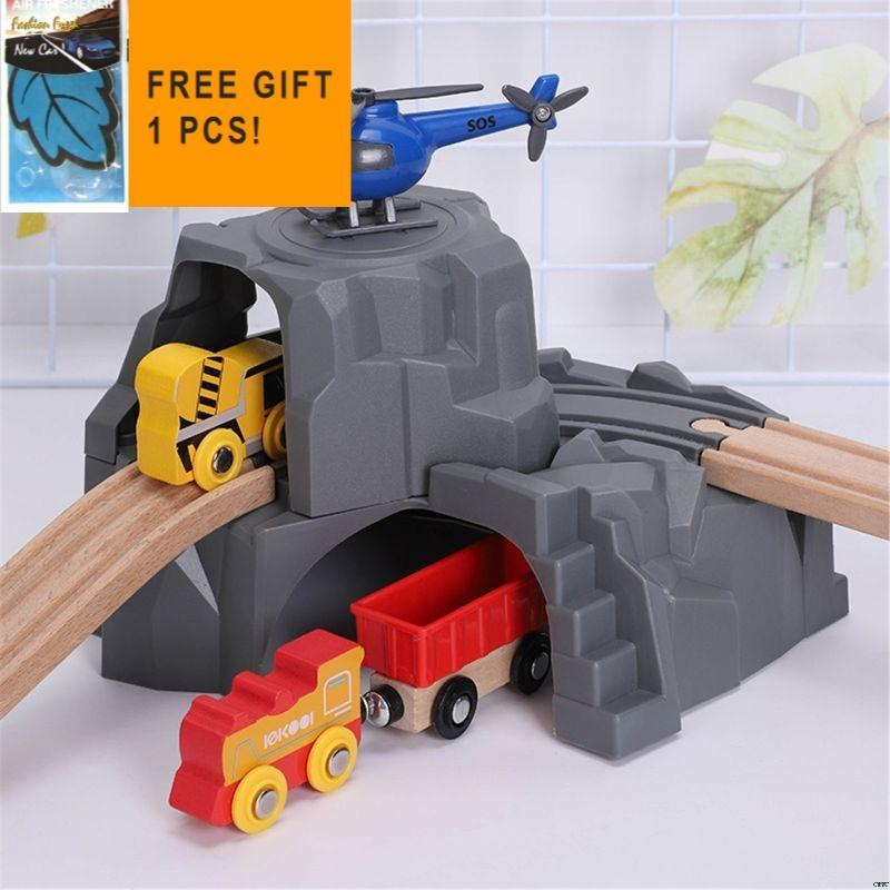 Plastic Grey Double Tunnel Wooden Train Track Accessories For Baby Toys Car Air Freshener