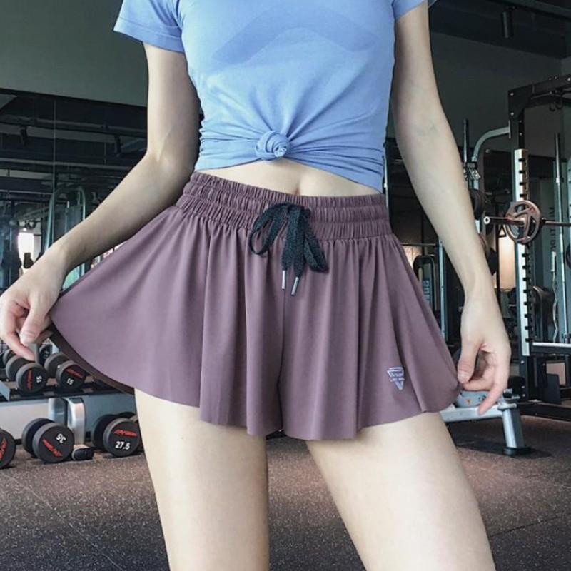 Nouvelle taille haute Sexy Gym Yoga Shorts Anti-rayonnement Sports anti-éblouissement Jupe de danse décontractée Jupe exposée Pantalon Sports Courir court